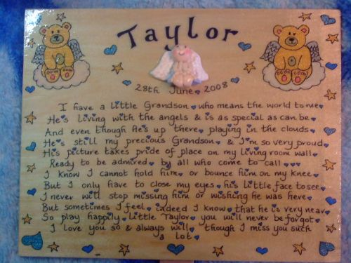 Angel Baby Memorial Wooden Sign Handmade Unique Item Personalised Plaque  little daughter /son Miscarriage Stillborn Teddy Bear